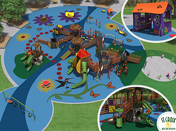 Thompson County Park playground rendering by St. Croiz Recreation.